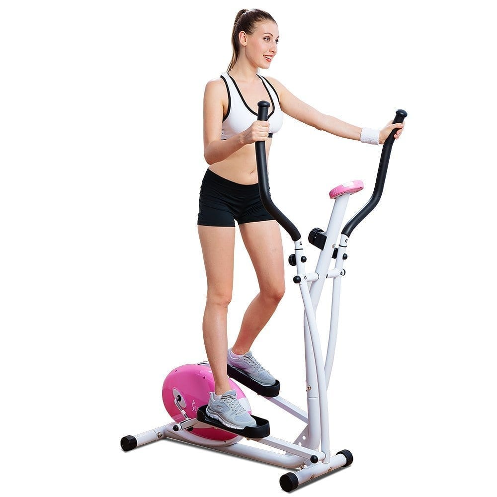 Sunny Health and Fitness Pink Magnetic Elliptical Trainer ...