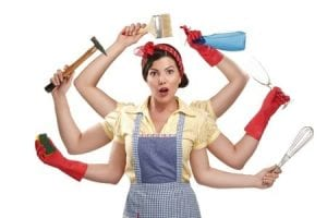 Busy woman juggling chores