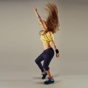 Red-headed girl dancing
