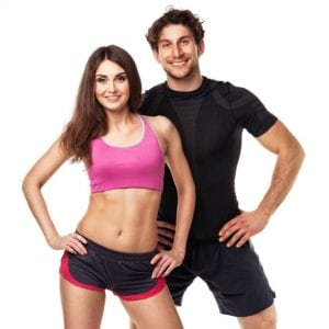 Fit young couple in workout gear