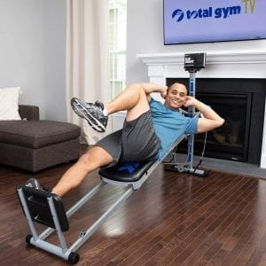 Man using an at-home gym