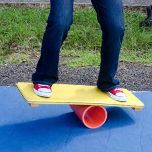 balance board exercises on a wobble board